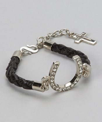 Black & Silver Rhinestone Horseshoe Bracelet