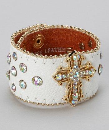 White & Gold Rhinestone Cross Bracelet