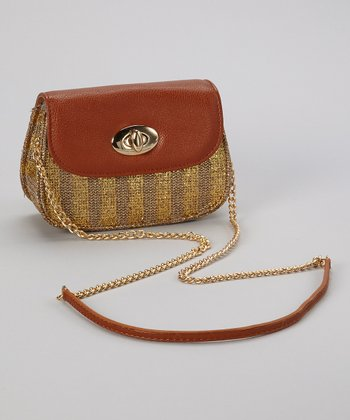 Tan & Gold Metallic Crossbody Bag