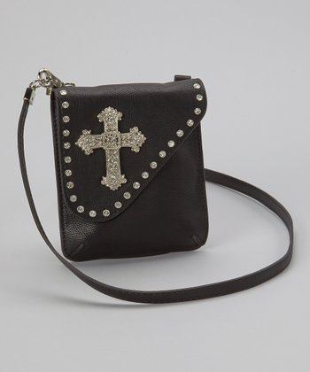 Black Rhinestone Cross Crossbody Bag
