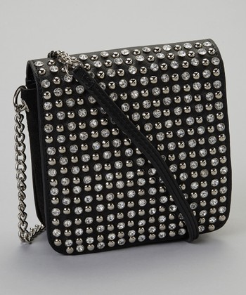 Black Rhinestone Chain Crossbody Bag
