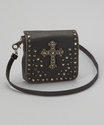 Black Hematite Cross Crossbody Bag