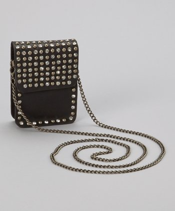 Black Rhinestone Stud Crossbody Bag