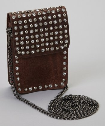 Brown Rhinestone Stud Crossbody Bag