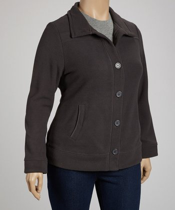 Charcoal Polar Fleece Jacket - Plus