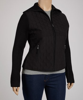 Black Hexagon Quilted Jacket