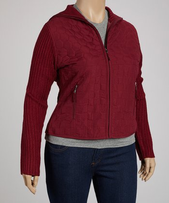 Wine Hexagon Quilted Jacket