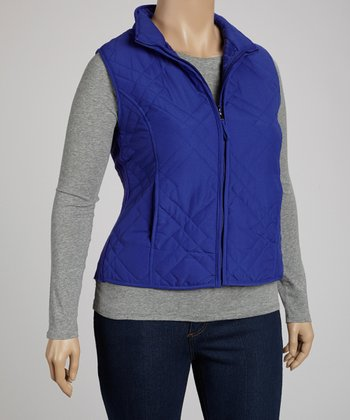 Cobalt Quilted Vest - Plus