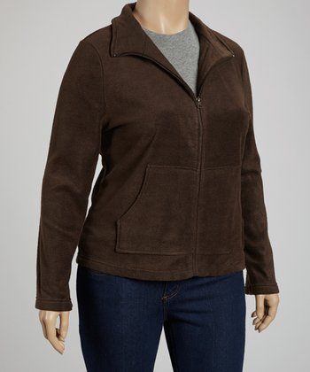 Brown Pocket Fleece Jacket