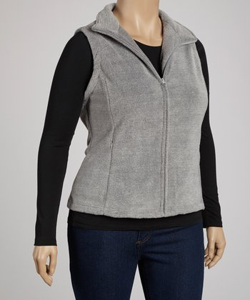 Heather Gray Minimalist Fleece Vest - Plus