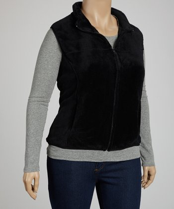 Black Soft Fleece Vest - Plus