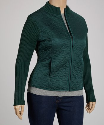 Green Abstract Quilted Jacket - Plus