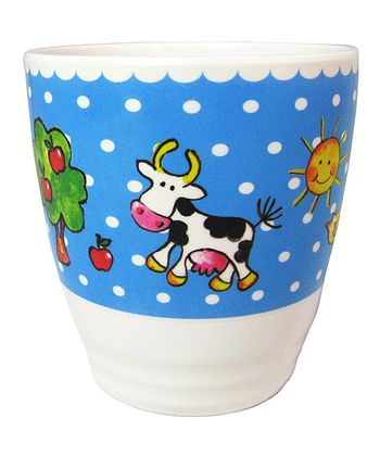 Blue & White Polka Dot Farm Animal Cup