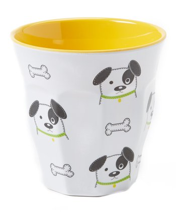 White & Yellow Dog Cup