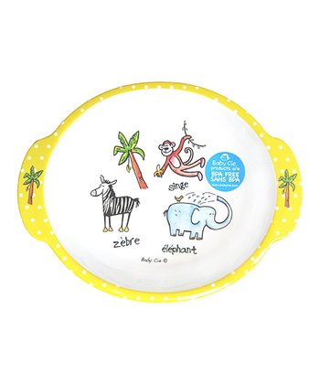 White & Yellow Jungle Oval Plate