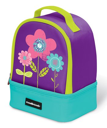 Purple Flowers Double Decker Lunch Box