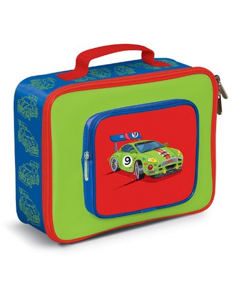 Blue Race Car Pocket Lunch Box