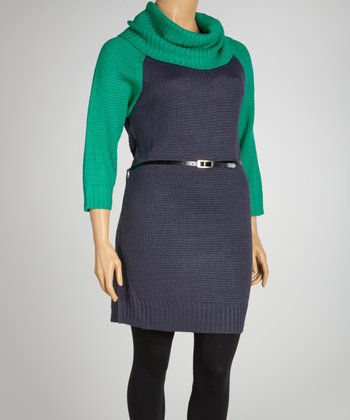 Jade & Coal Belted Cowl Neck Sweater Dress - Plus