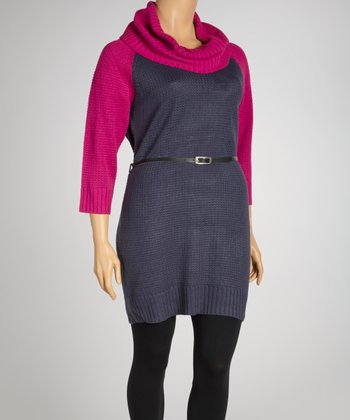 Peony Pink & Coal Belted Cowl Neck Sweater Dress - Plus