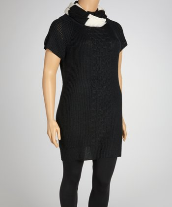 Black Cable-Knit Sweater Dress & Stripe Scarf - Plus