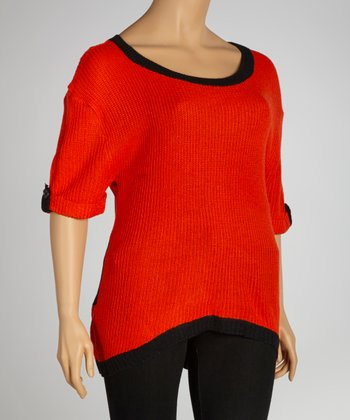 Orange & Black Stripe Back Hi-Low Scoop Neck Sweater - Plus