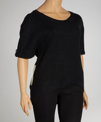 Black Stripe Back Hi-Low Scoop Neck Sweater - Plus