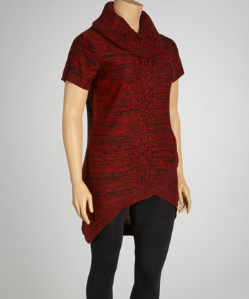 Chili Red Marled Cowl Neck Envelope Hem Sweater Dress - Plus