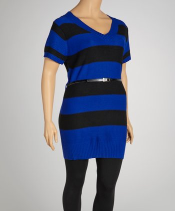 Royal Blue & Black Stripe Belted V-Neck Sweater Dress - Plus