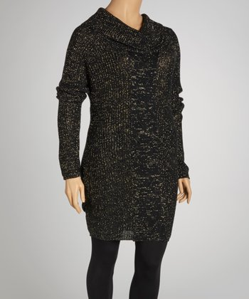 Black Marled Cowl Neck Sweater Dress - Plus