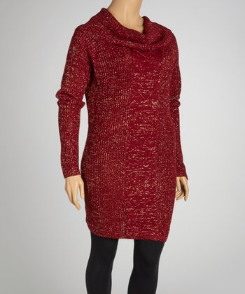 Cinnabar Red Marled Cowl Neck Sweater Dress - Plus
