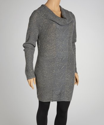 Gunmetal Gray Marled Cowl Neck Sweater Dress - Plus