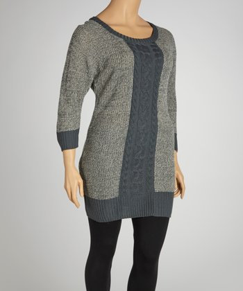 Gray Marled Cable-Knit Three-Quarter Sleeve Sweater Dress - Plus