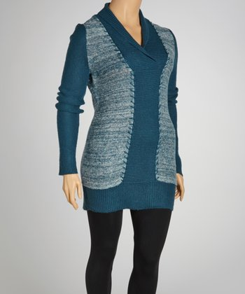 Grunge Turquoise Marled Shawl Neck Sweater Dress - Plus