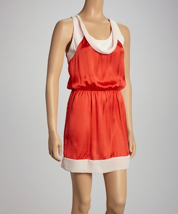 Red & Cream Color Block Racerback Dress - Women