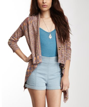 Brown & Pink Saddle Space Dye Cardigan - Women