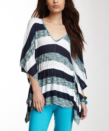 Blue & Navy Stripe Dolman Side-Tail Top - Women