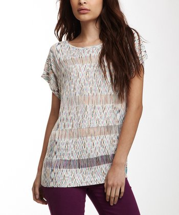 White Drop-Stitch Diamond Tee - Women