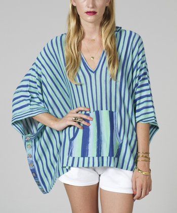 Blue Stripe Hooded Cape-Sleeve Top - Women