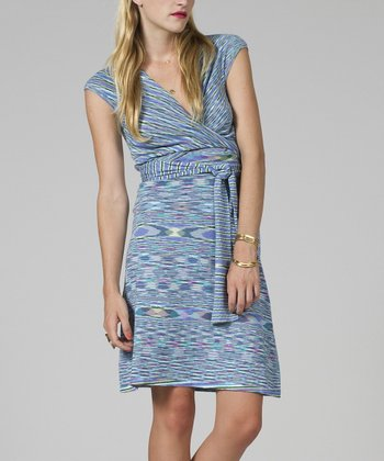 Blue Stripe Cap-Sleeve Surplice Dress - Women