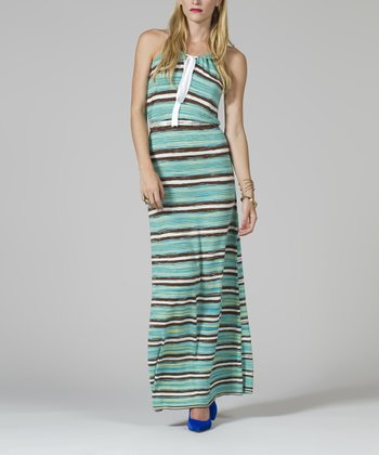 Green & Brown Stripe Maxi Dress - Women