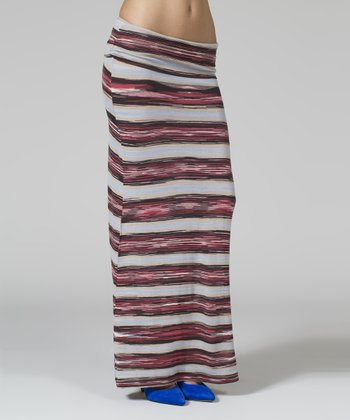 Maroon & Black Stripe Maxi Skirt - Women