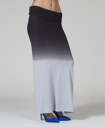 Gray & Black Ombré Maxi Skirt - Women