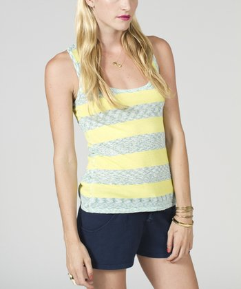 White & Yellow Space Dye Racerback Tank