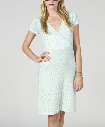 White & Yellow Space Dye Short-Sleeve Surplice Dress - Women