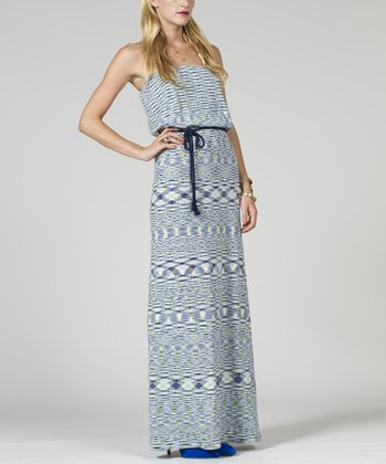 Blue & White Space Dye Strapless Maxi Dress