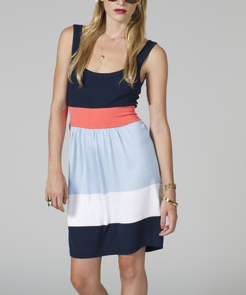 Navy & Coral Color Block Dress - Women