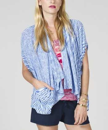 Blue Cape-Sleeve Open Cardigan