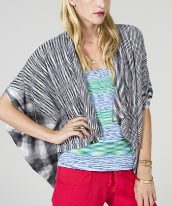 Gray Cape-Sleeve Open Cardigan