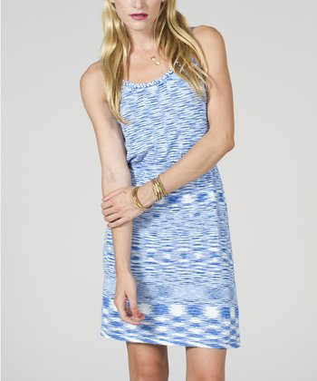 Blue & White Space Dye Tank Dress - Women