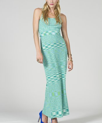 Aqua & White Stripe Racerback Maxi Dress - Women